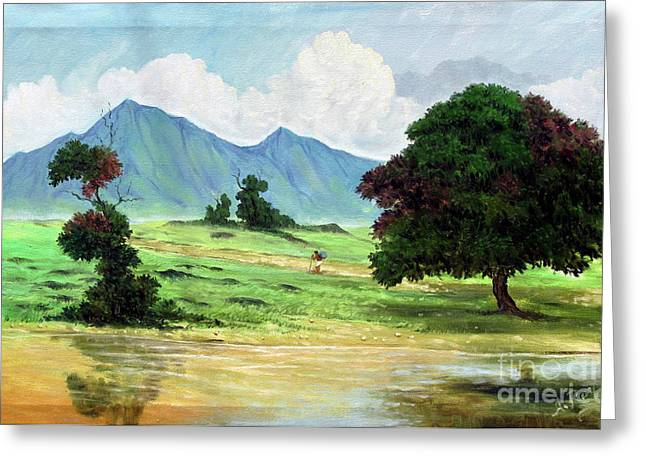 Mango Paintings Greeting Cards - Miles To Go Before I Sleep Greeting Card by Anup Roy