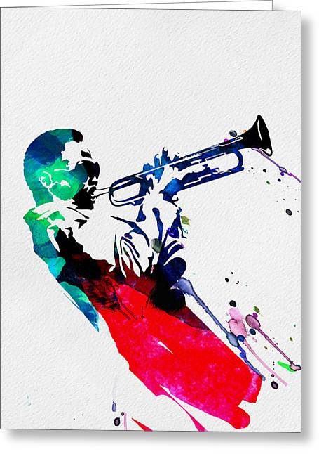 Miles Watercolor Greeting Card by Naxart Studio