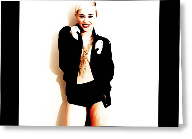Party Invite Mixed Media Greeting Cards - Miley Cyrus Lets Dance Greeting Card by Brian Reaves