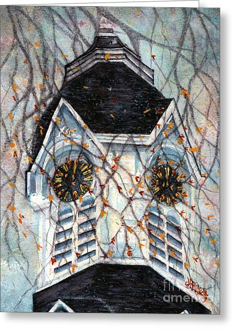 Milford Church Clock Tower Autumn Days Greeting Card by Janine Riley
