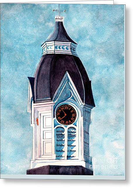 Milford Clock Tower Greeting Card by Janine Riley