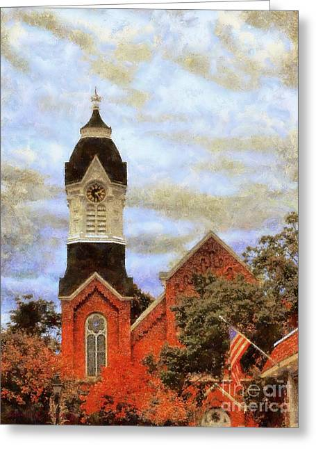 Milford Pa Autumn Skyline Greeting Card by Janine Riley
