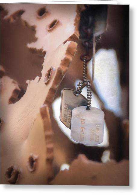 Sacrifice Mixed Media Greeting Cards - Military Dog Tags Greeting Card by Lori Deiter
