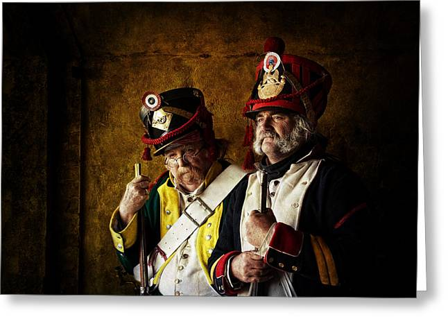 Man Photographs Greeting Cards - Military Men Greeting Card by Mel Brackstone
