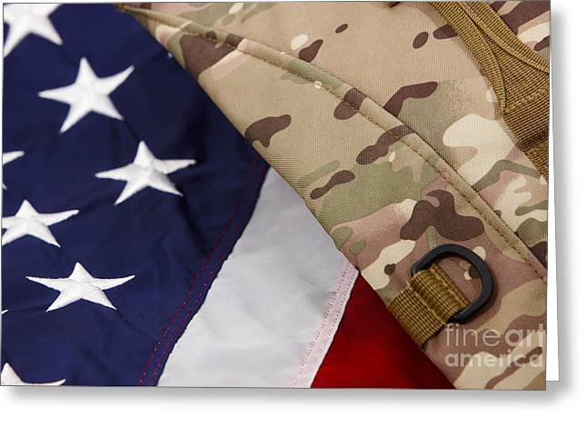 Patterned Greeting Cards - Military Multicam Pouch On United States Of America Flag Greeting Card by Joe Fox