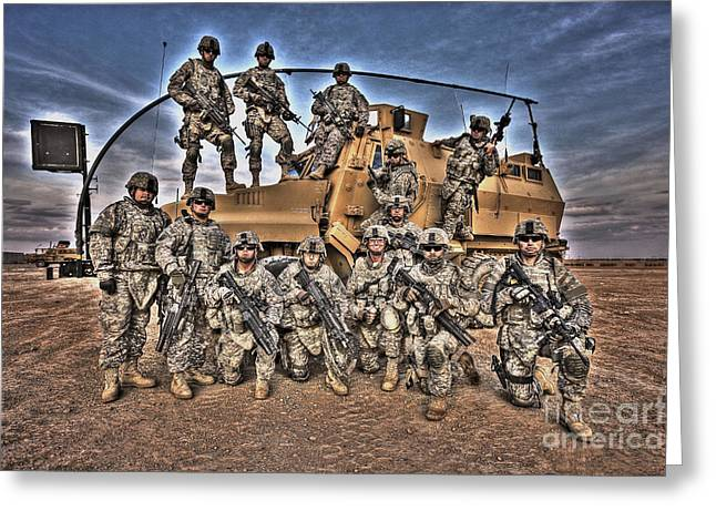 Military Police Greeting Cards - Military Police Pose For This Hdr Image Greeting Card by Terry Moore