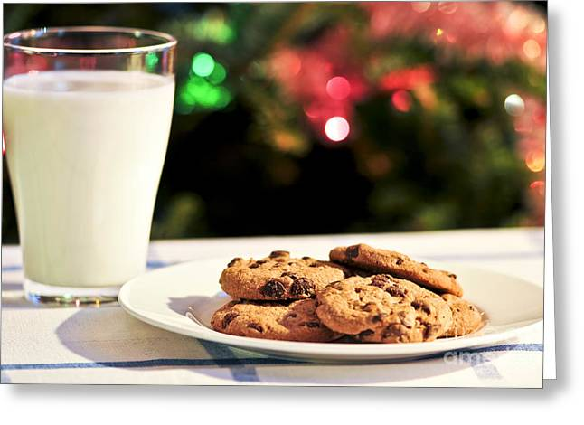 Cookie Greeting Cards - Milk and cookies for Santa Greeting Card by Elena Elisseeva