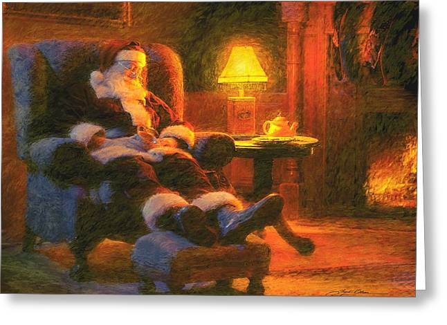 Santa Claus Greeting Cards - Milk and Cookiezzzzz Greeting Card by Greg Olsen