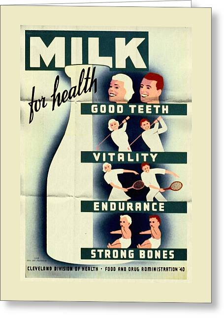 Wpa Prints Greeting Cards - Milk for Health - Vintage Poster Folded Greeting Card by Vintage Advertising Posters