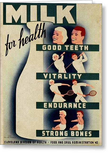 Wpa Prints Greeting Cards - Milk for Health - Vintage Poster Vintagelized Greeting Card by Vintage Advertising Posters