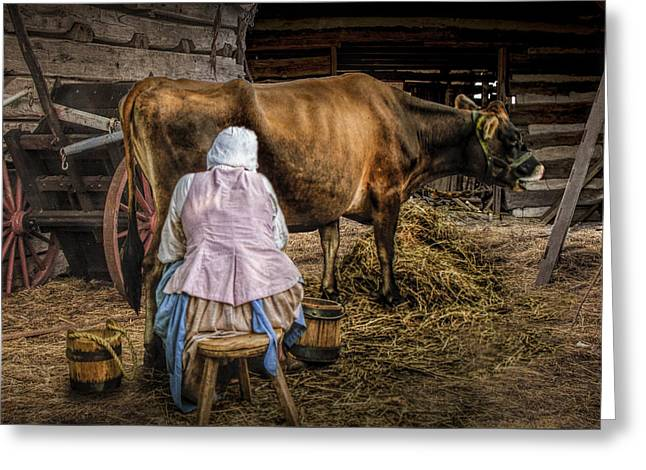 Farm Bucket Greeting Cards - Milk Maid Milking Greeting Card by Randall Nyhof