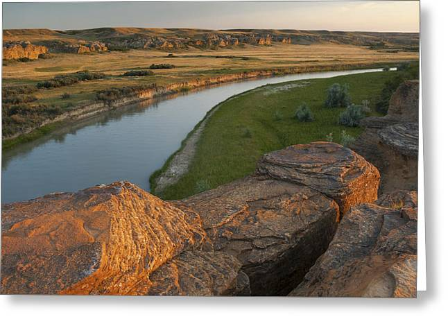 Alberta Prairie Landscape Greeting Cards - Milk River Greeting Card by Christian Heeb