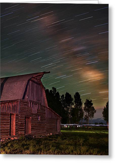 Night Photography Workshop Greeting Cards - Milk Trails Over The Moulton Barn Greeting Card by Mike Berenson