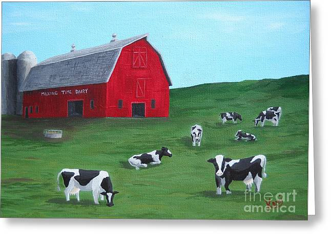 Loveland Artist Greeting Cards - Milking Time Dairy Greeting Card by Kerri Ertman