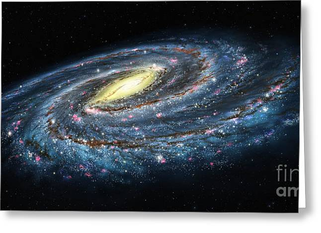 Outer Space Paintings Greeting Cards - Milky Way Galaxy Oblique Greeting Card by Lynette Cook