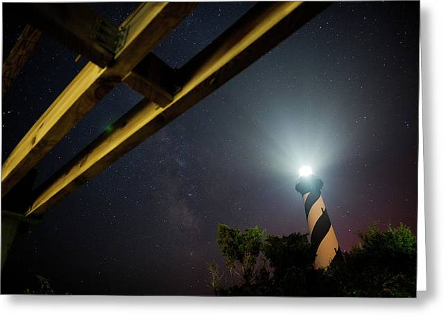 Daniel Lowe Greeting Cards - Milky Way inside Hatteras Light Pavillon Greeting Card by Daniel Lowe