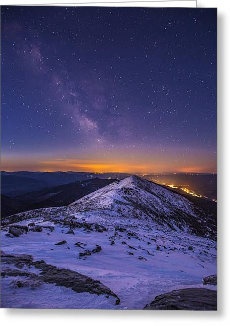 New England Snow Scene Greeting Cards - Milky Way over Franconia Ridge Greeting Card by Christopher Whiton
