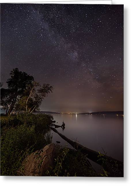 Steffey Greeting Cards - Milky Way Over Ithaca Greeting Card by Michele Steffey