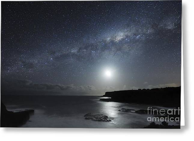 Moonlit Night Greeting Cards - Milky Way Over Mornington Peninsula Greeting Card by Alex Cherney, Terrastro