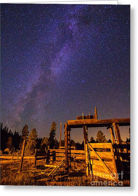 Observer Greeting Cards - Milky Way over Old Corral Greeting Card by John R Foster