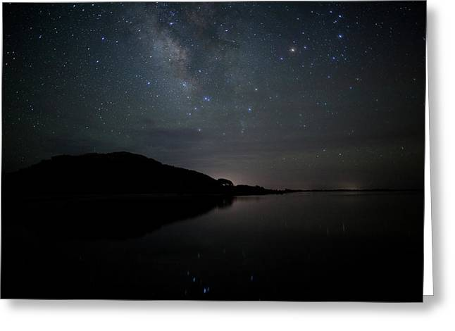 Milky Way Over Pamlico Sound Greeting Card by Daniel Lowe