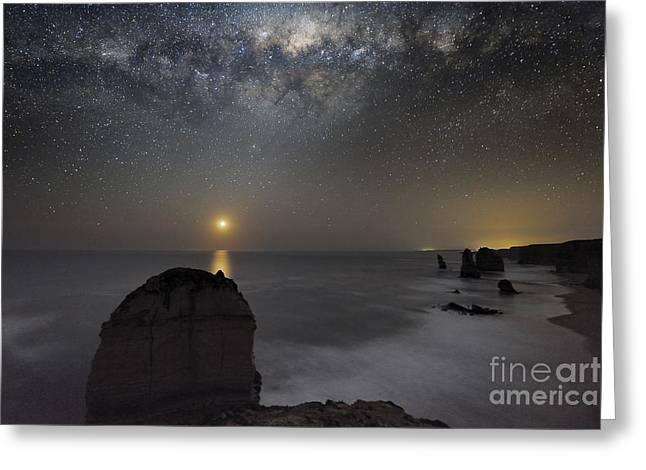 Moonlit Night Greeting Cards - Milky Way Over Shipwreck Coast Greeting Card by Alex Cherney, Terrastro