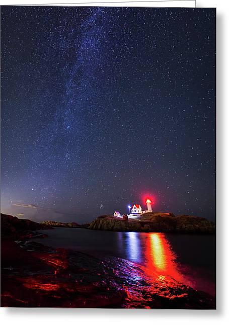 Milky Way Over The Nubble Lighthouse  Greeting Card by Mircea Costina Photography