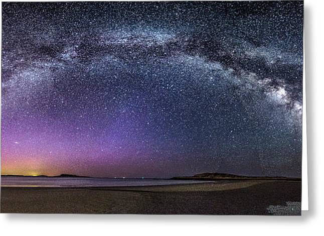 Maine Beach Greeting Cards - Milky Way Panorama with Northern Lights at Popham Beach Greeting Card by Benjamin Williamson