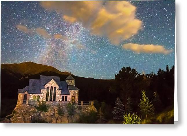 Chapel On The Rock Greeting Cards - Milky Way Perseid Meteor Shower and Chapel On The Rock Greeting Card by James BO  Insogna