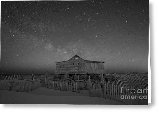 Seaside Heights Nj New Jersey Shore Hurricane Sandy Aftermath Beach Photo Photos Fireman Firefighter Firemen Dalmatian Dog Pet Fire Department Toms River Jetstar Roller Coaster Boardwalk Ocean Superstorm Photographs Greeting Cards - Milky Way Rising at Judges Shack BW Greeting Card by Michael Ver Sprill