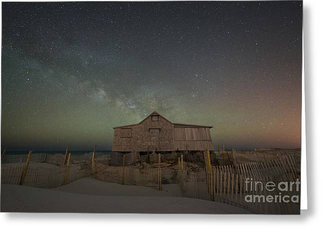 Seaside Heights Nj New Jersey Shore Hurricane Sandy Aftermath Beach Photo Photos Fireman Firefighter Firemen Dalmatian Dog Pet Fire Department Toms River Jetstar Roller Coaster Boardwalk Ocean Superstorm Greeting Cards - Milky Way Rising at Judges Shack Greeting Card by Michael Ver Sprill