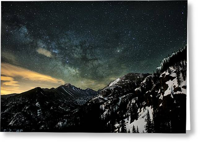 Colorado Captures Greeting Cards - Milky Way Skies Over Glacier Gorge Greeting Card by Mike Berenson