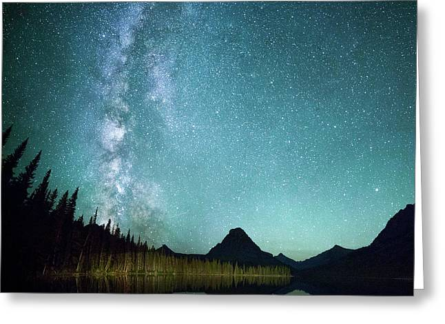 Milky Way // Two Medicine Lake, Glacier National Park Greeting Card by Nicholas Parker