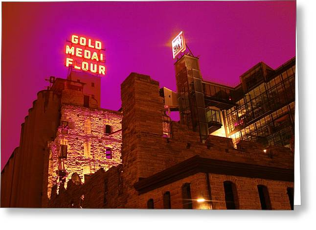 Minneapolis Skyline Greeting Cards - Mill City at Night Greeting Card by Heidi Hermes