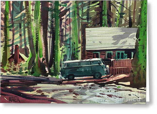 Mill Greeting Cards - Mill Creek Camp Greeting Card by Donald Maier