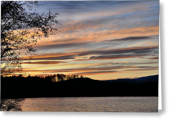 Fishing Creek Greeting Cards - Mill Creek Lake Sun Set Greeting Card by Todd Hostetter