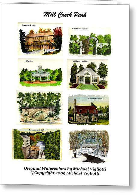Mills Greeting Cards - Mill Creek Park Collage Greeting Card by Michael Vigliotti