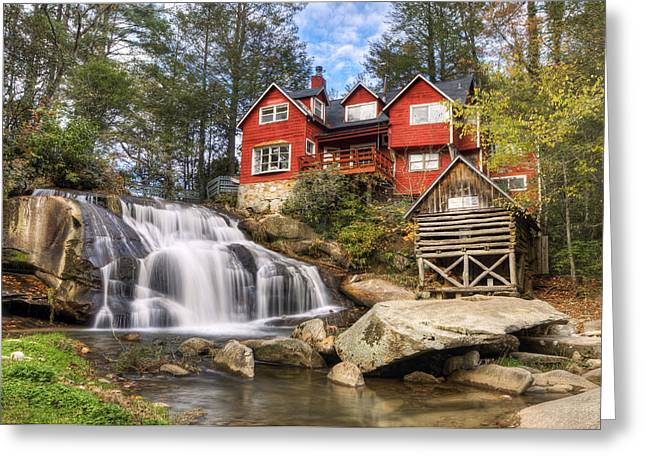 Western North Carolina Greeting Cards - Mill Shoals Falls - WNC Blue Ridge Waterfalls Greeting Card by Dave Allen