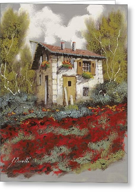 Old Houses Greeting Cards - Mille Papaveri Greeting Card by Guido Borelli