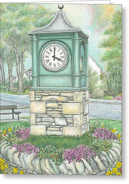 Flower Bed Greeting Cards - Millennium Clock  Endmoor  Cumbria Greeting Card by Sandra Moore