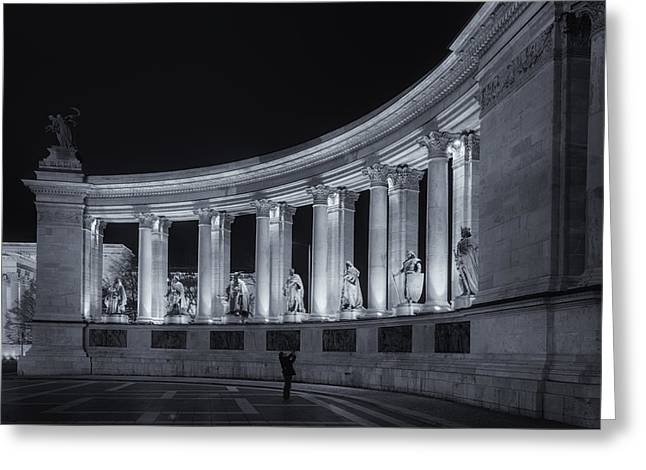 Liberation Greeting Cards - Millennium Monument Colonnade BW Greeting Card by Joan Carroll