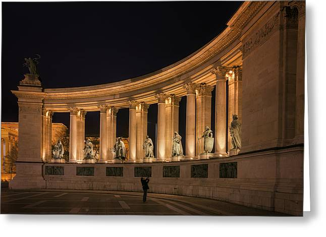 Liberation Greeting Cards - Millennium Monument Colonnade Color Greeting Card by Joan Carroll