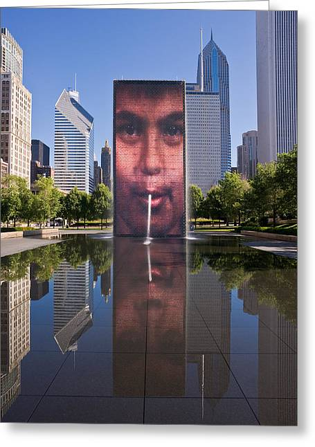 Millennium Park Greeting Cards - Millennium Park Fountain and Chicago Skyline Greeting Card by Steve Gadomski