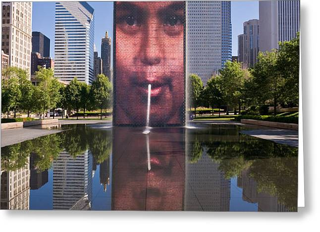 Millennium Park Fountain and Chicago Skyline Greeting Card by Steve Gadomski