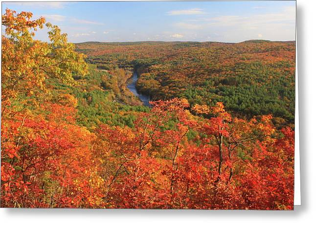 """autumn Foliage New England"" Greeting Cards - Millers River Valley in Autumn Greeting Card by John Burk"