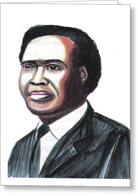 Emmanuel Baliyanga Greeting Cards - Milton Apolo Obote Greeting Card by Emmanuel Baliyanga
