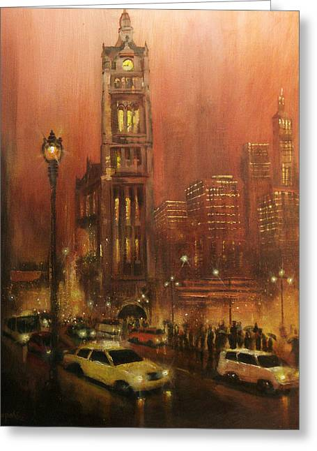 City Lights Greeting Cards - Milwaukee City Hall Greeting Card by Tom Shropshire