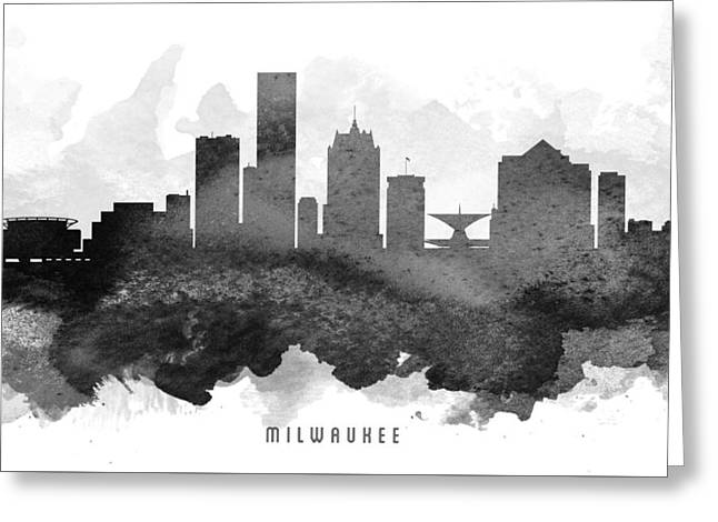 Milwaukee Skyline Greeting Cards - Milwaukee Cityscape 11 Greeting Card by Aged Pixel