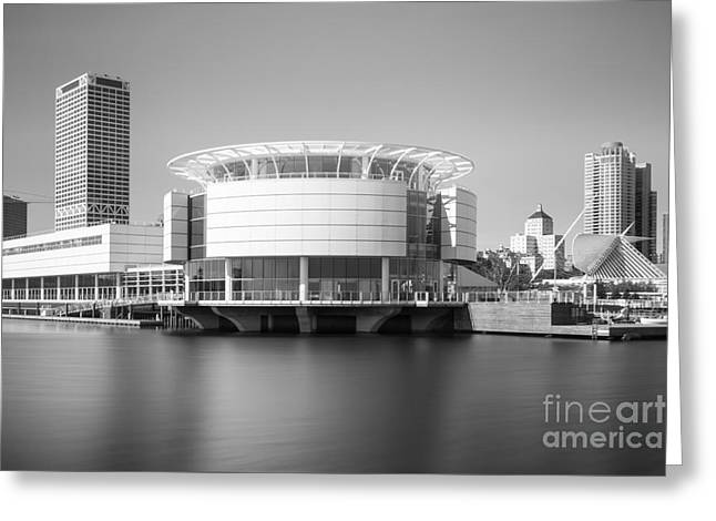 Milwaukee Art Museum Greeting Cards - Milwaukee Discovery World Picture in Black and White Greeting Card by Paul Velgos