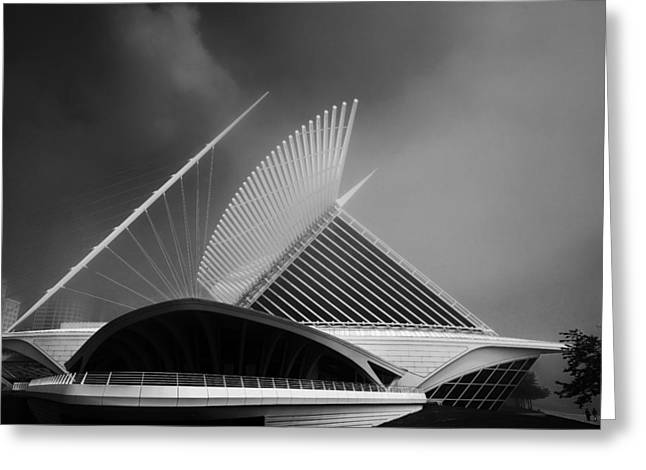 Miller Park Greeting Cards - Milwaukee Museum of Art Milwaukee Wisconsin Black White 2 Greeting Card by David Haskett